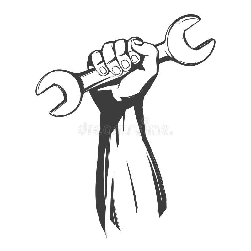 Handen som rymmer en skiftnyckel, illustration f?r vektor f?r hj?lpmedelsymbolstecknad film handen dragen, skissar royaltyfri illustrationer