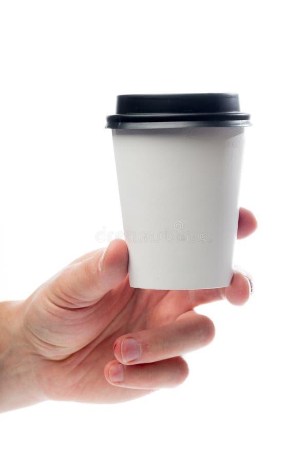 Handen som rymmer papper, rånar isolerat på vit royaltyfri foto