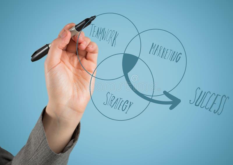 Handen som skriver ven-diagrammet, klottrar mot blå bakgrund royaltyfri fotografi