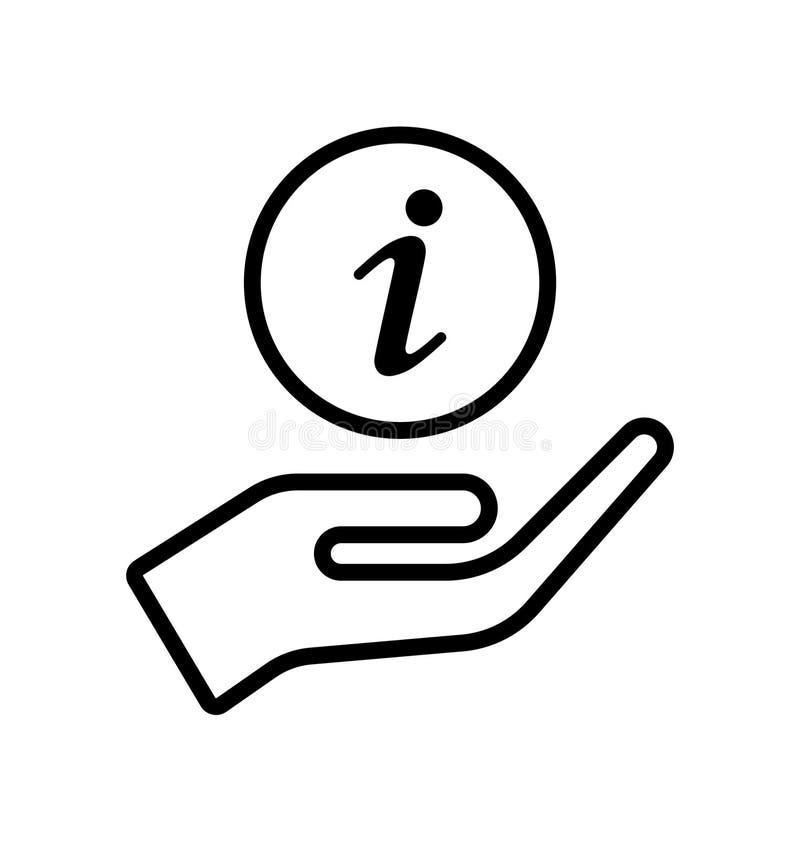 Handen tar informationssymbolen om omsorg stock illustrationer