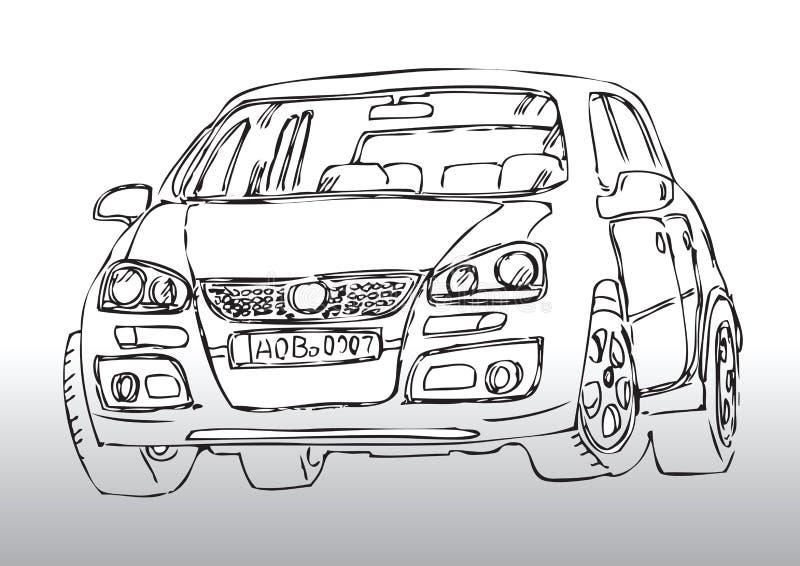 Handen tecknade bilen skissar royaltyfri illustrationer