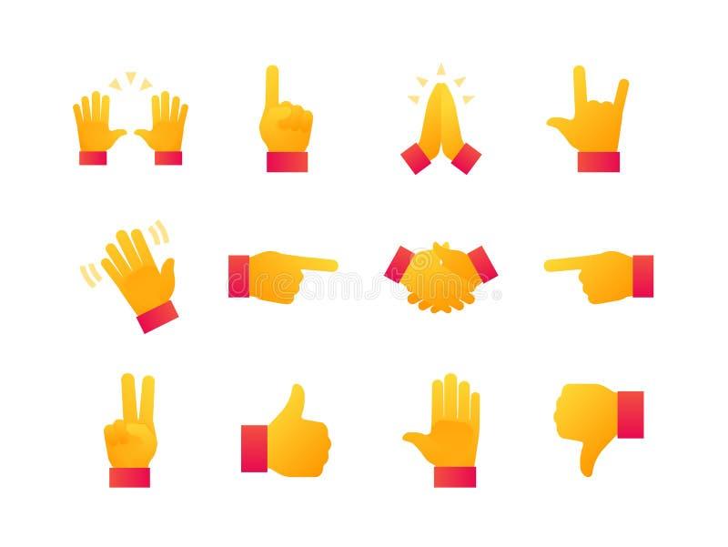 Handen undertecknar - den moderna plana uppsättningen för designstilsymboler royaltyfri illustrationer