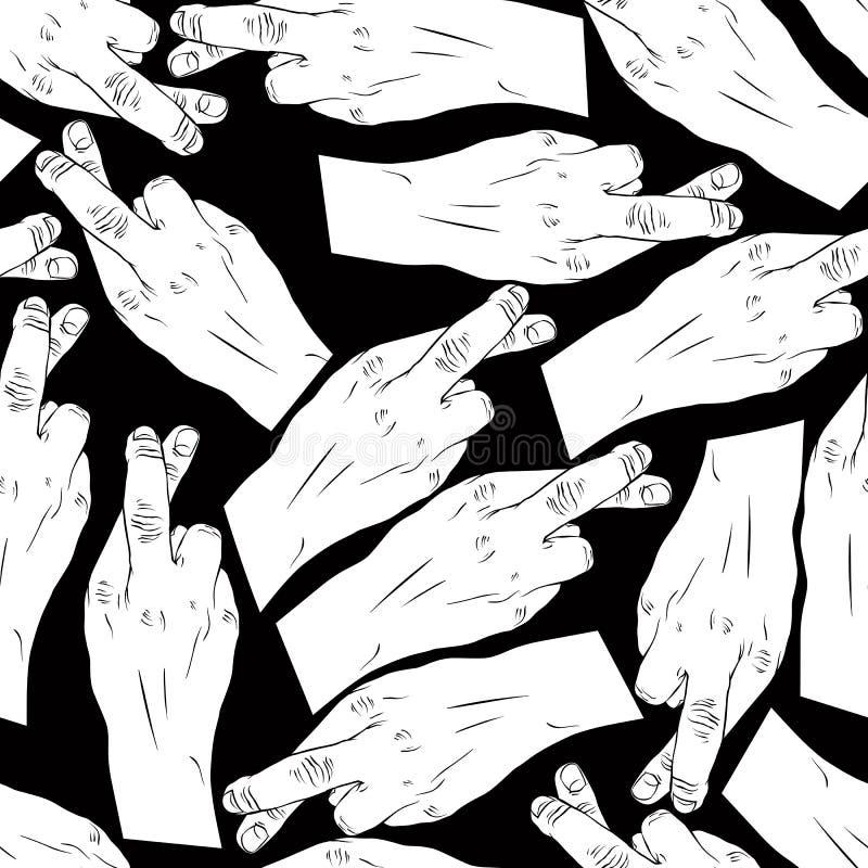Handen van bedriegers met gekruist vingers naadloos geklets, zwarte vector illustratie