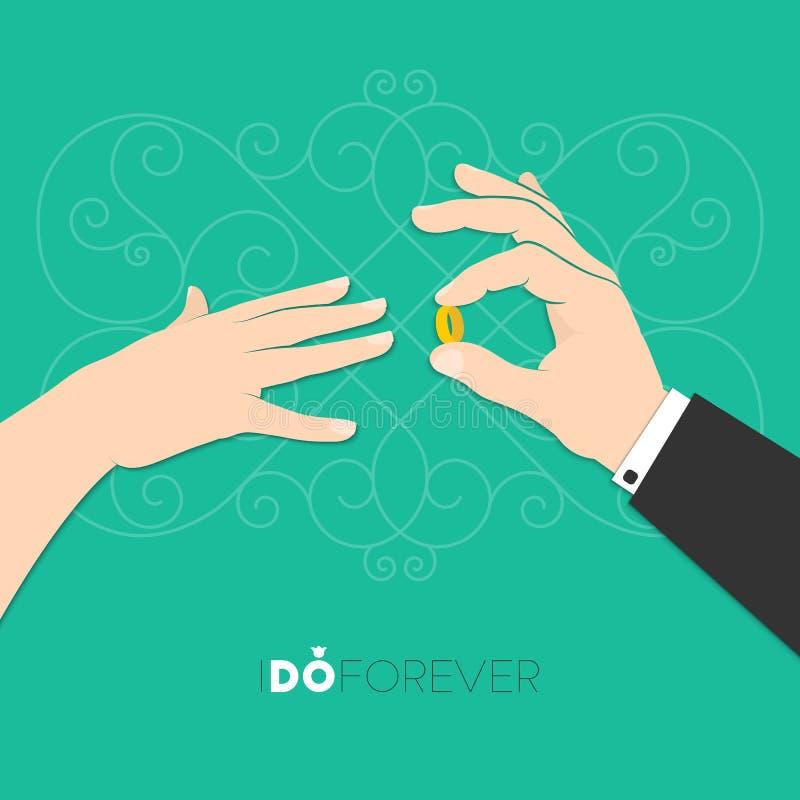 Handen van de bruid en de bruidegom vector illustratie