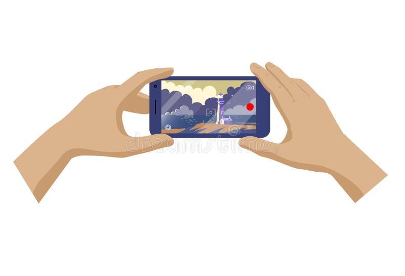 Handen van de reismens foto of video van landschap met vuurtoren maken en overzees die op smartphone Vector illustratie royalty-vrije illustratie