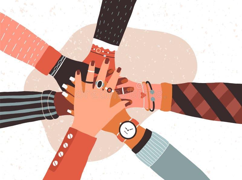 Handen van diverse groep mensen die samenbrengen Concept samenwerking, eenheid, samenhorigheid, vennootschap, overeenkomst vector illustratie