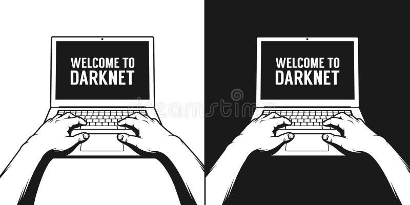 Handen van een mens die aan laptop werken stock illustratie