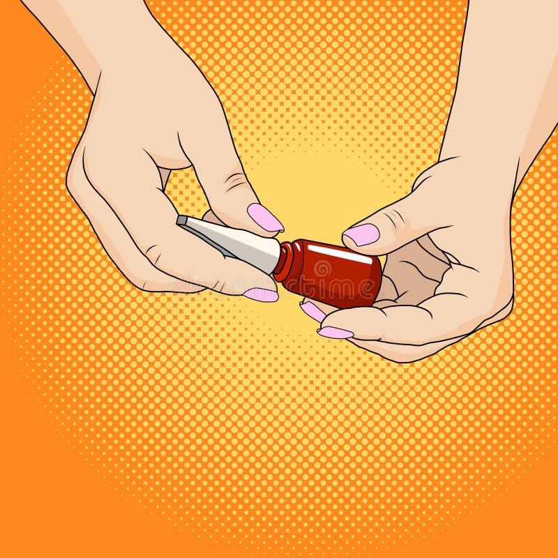 Handen van een vrouw met donkerrode manicure en nagellakfles royalty-vrije illustratie