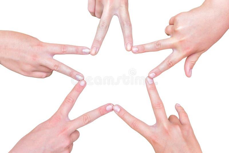Handen van meisjes die stervorm op wit maken royalty-vrije stock afbeeldingen