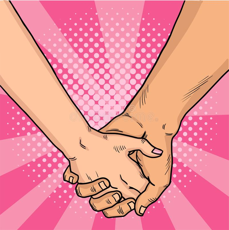 Handen van minnaars grappige stijl Twee minnaars kruisten hun wapens De dag van de valentijnskaart `s Roze achtergrond Uitstekend vector illustratie