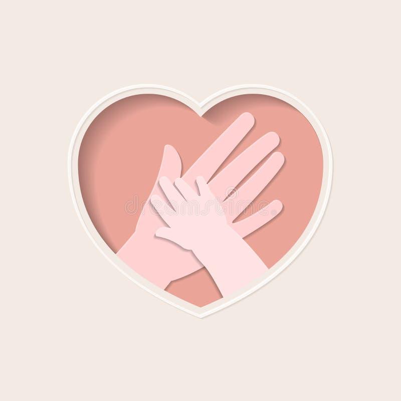 Handen van moeder en baby in hart gestalte gegeven document art. stock afbeelding