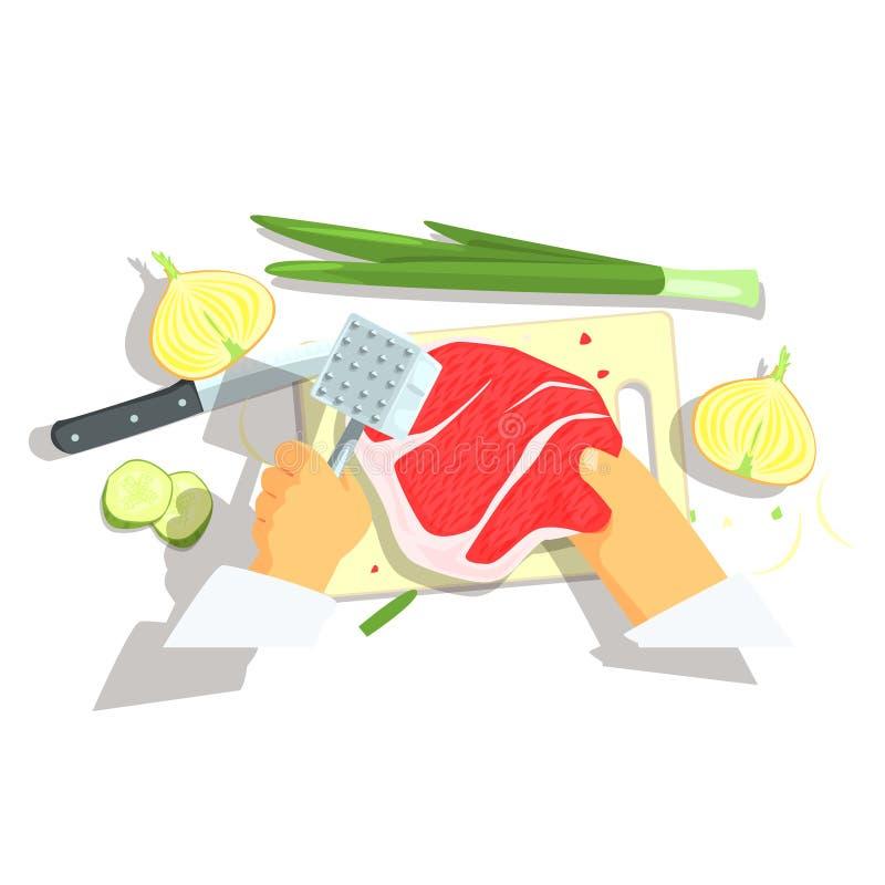 Handen van Professionele Cook Cutting Ingredients For Varkenskotelet met Uien het Koken royalty-vrije illustratie
