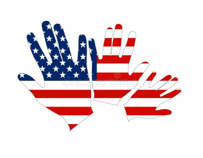 Handen van van Amerika de Samenvatting van de V.S.- Vlag stock illustratie