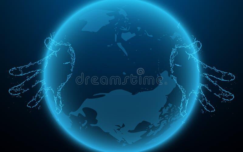 Handen wat betreft globaal netwerk en dataverbindingconcept stock illustratie