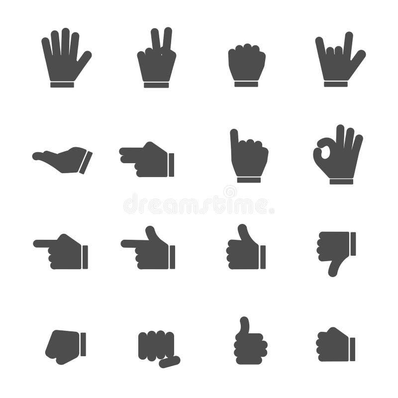 Handen Zwarte Pictogrammen stock illustratie