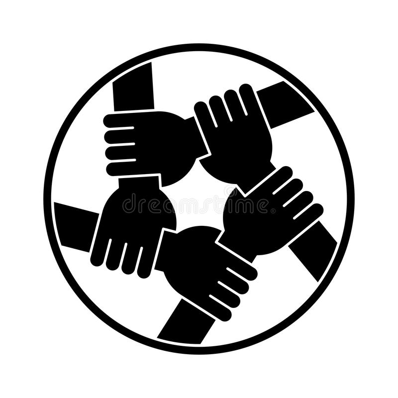 Handenholding elkaar voor Solidariteitssilhouet royalty-vrije stock fotografie