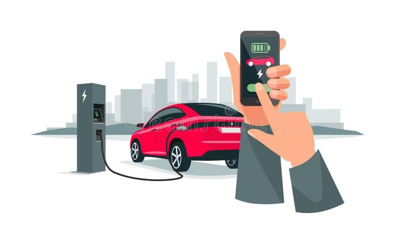Handenholding Smartphone met het Laden van App en Elektrische Auto die Batterijen aanvulling royalty-vrije illustratie