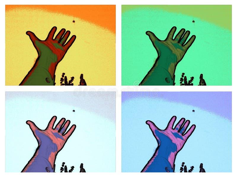 Handenontwerp in multikleur met vier kadersvingers stock illustratie