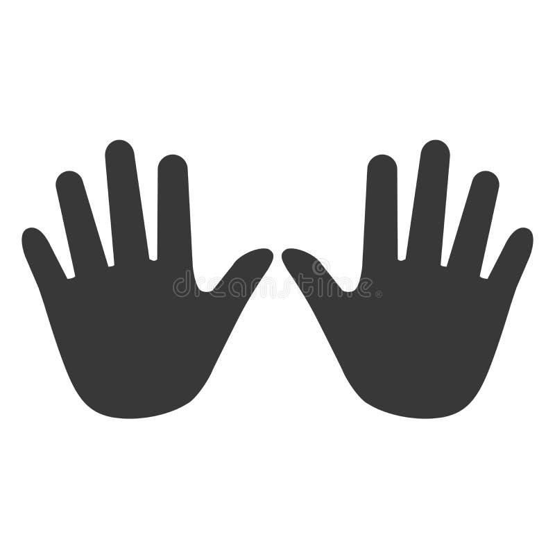 Handenpictogram, de vector van het handpictogram, in in vlakke die stijl op w wordt geïsoleerd royalty-vrije illustratie