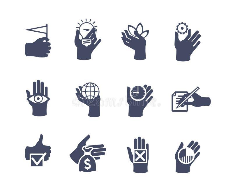 Handenpictogram voor website of toepassing wordt geplaatst die Vlak Ontwerp royalty-vrije illustratie