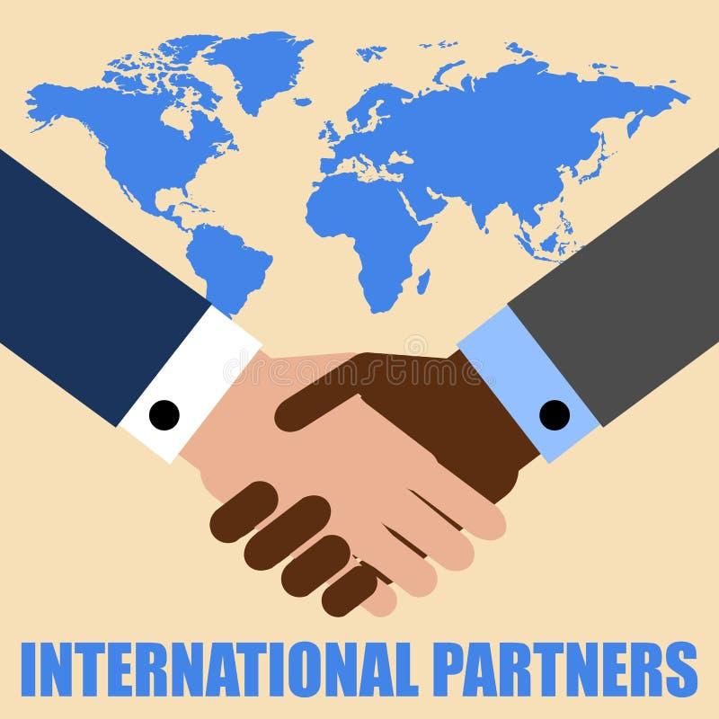 Handenschudden van twee zakenlieden op de achtergrond van de wereldkaart Van letters voorziende Internationale partners Vector il royalty-vrije illustratie