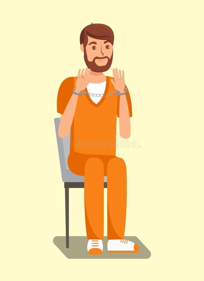 Handfängslad fånge, plan illustration för intagen royaltyfri illustrationer