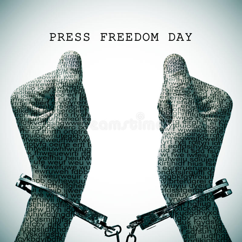 Handfängslad man- och texttryckfrihetdag royaltyfri bild