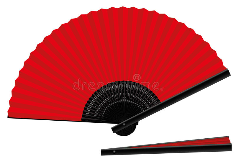 Handfan-offenes geschlossenes rotes Schwarzes lizenzfreie abbildung