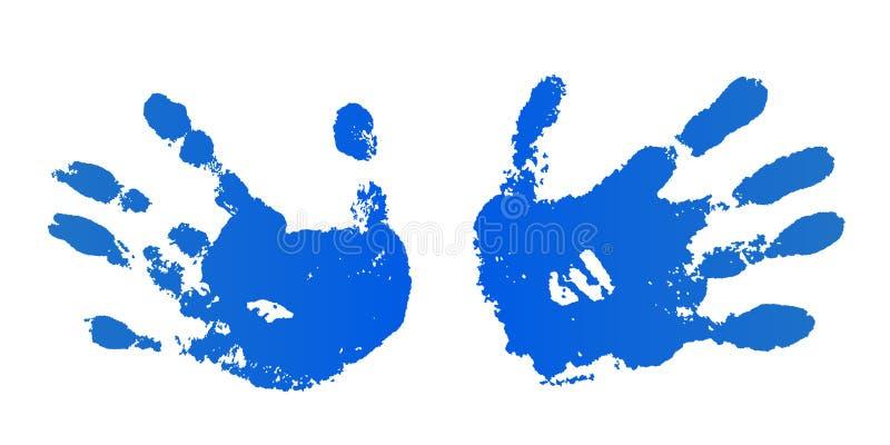 Handfarben-Drucksatz, lokalisierter wei?er Hintergrund Blaue menschliche Palme und Finger Entwurf der abstrakten Kunst, Symbolide lizenzfreie abbildung