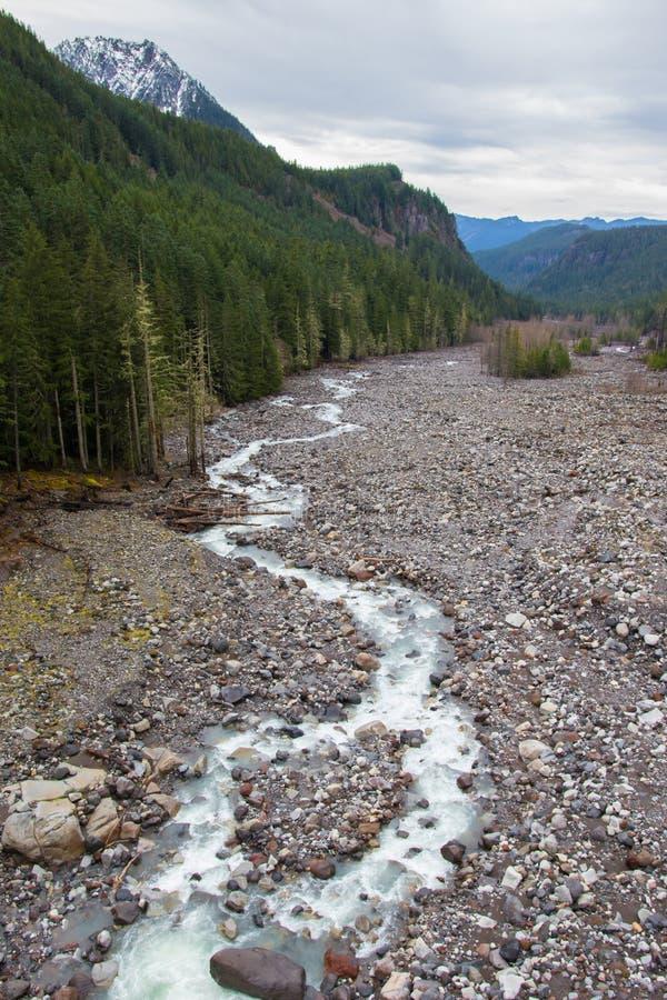 Handfat för Nisqually glaciärflod arkivbild
