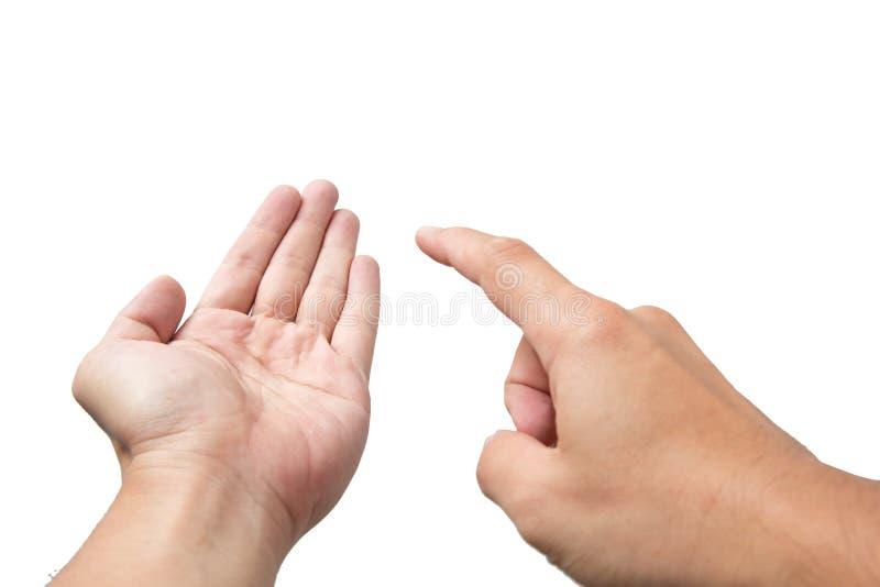 Handfinger-Punktnote lizenzfreie stockbilder