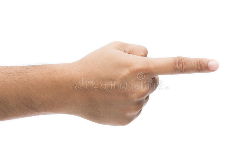 Handfingerzeigen lokalisiert auf weißem Hintergrund lizenzfreie stockfotos