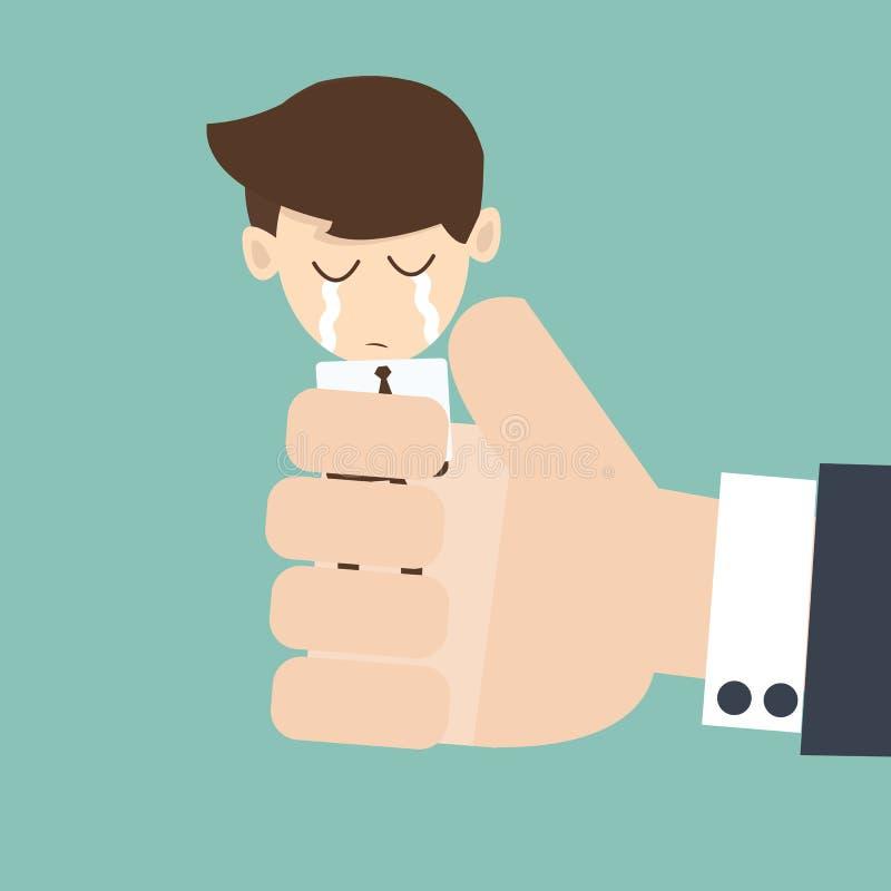 Handframstickande som pressar en ung affärsman stock illustrationer