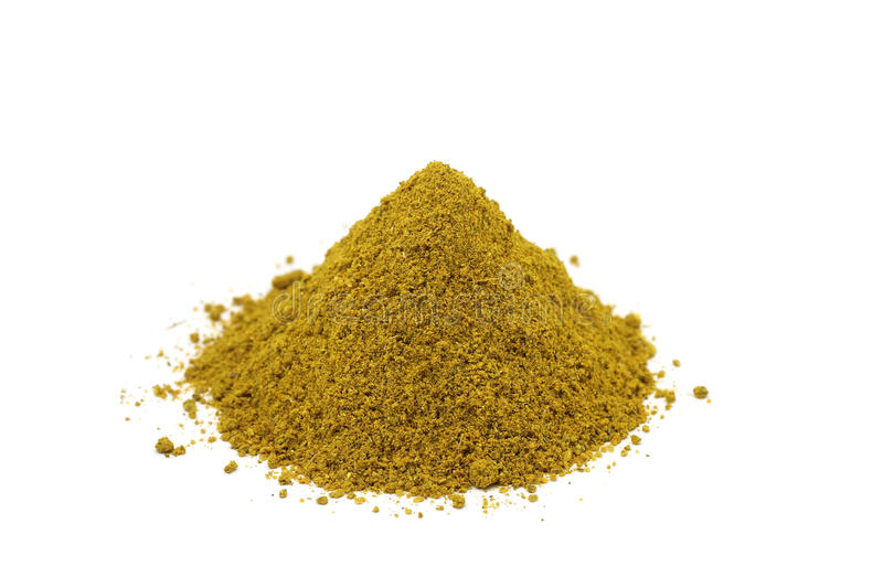 A handful of crushed spices. On a white background stock images