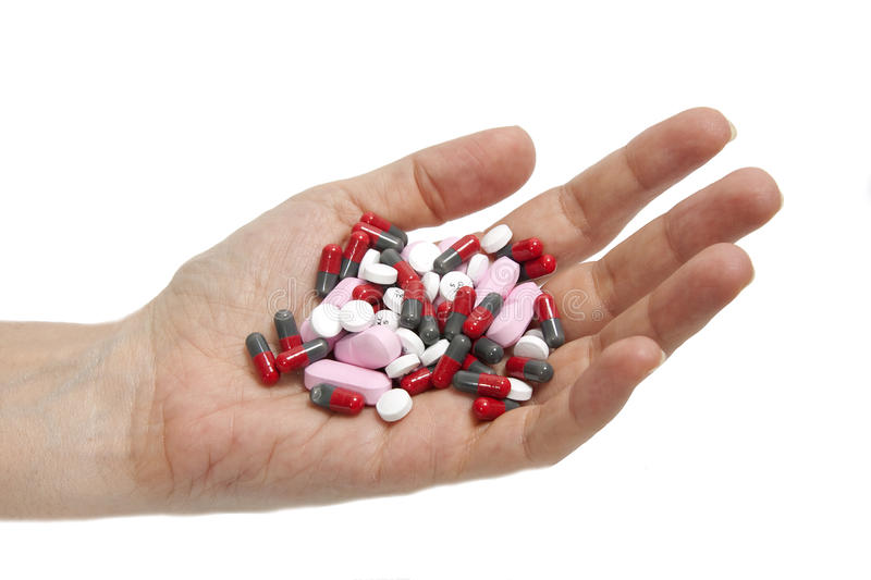 A handful drugs stock image