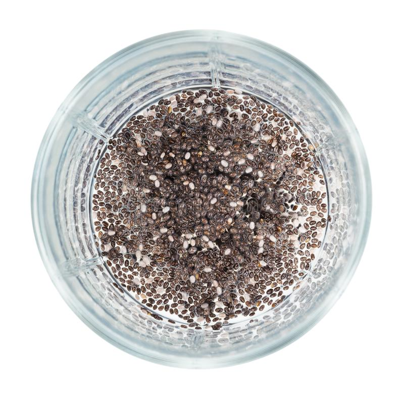 Handful of dry chia seeds are soaked with water stock image