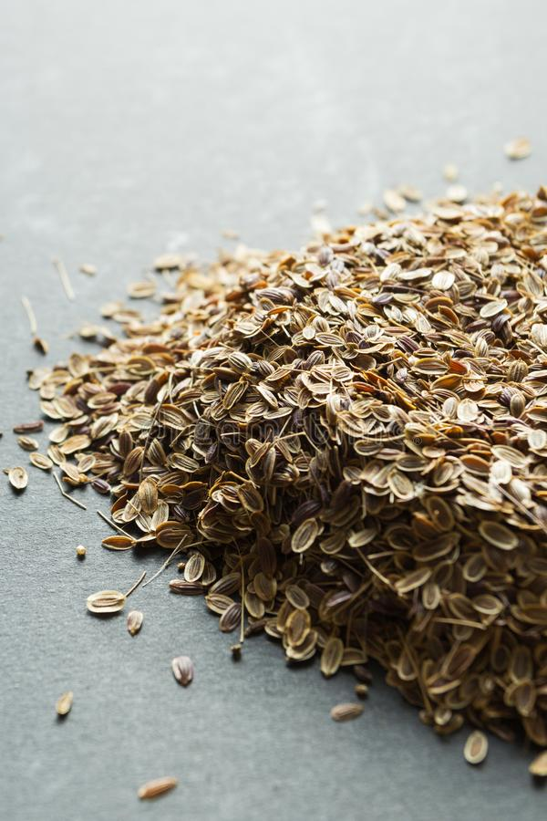 A handful of dry organic dill seeds, vertically.  stock images