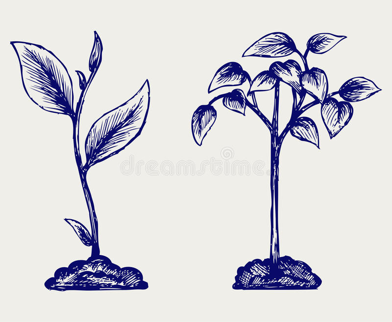 Handful of the ground and plant. Doodle style vector illustration