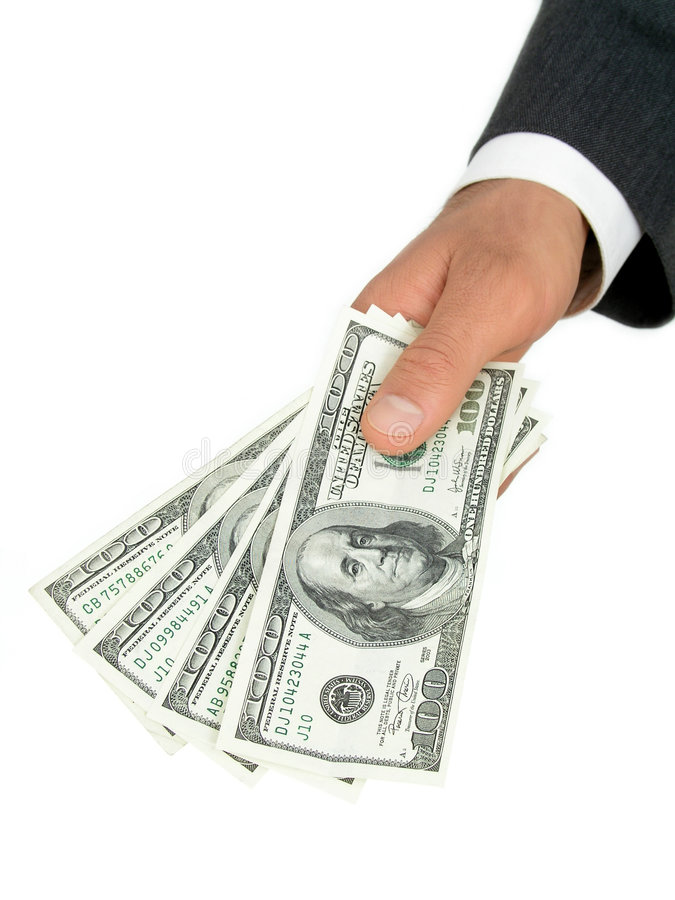Handful of Money. Man's hand offering money royalty free stock photos