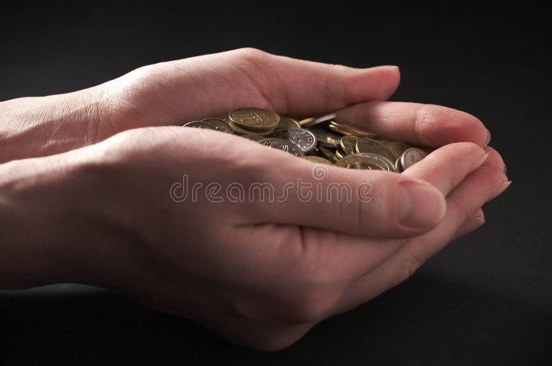 Handful money stock photos