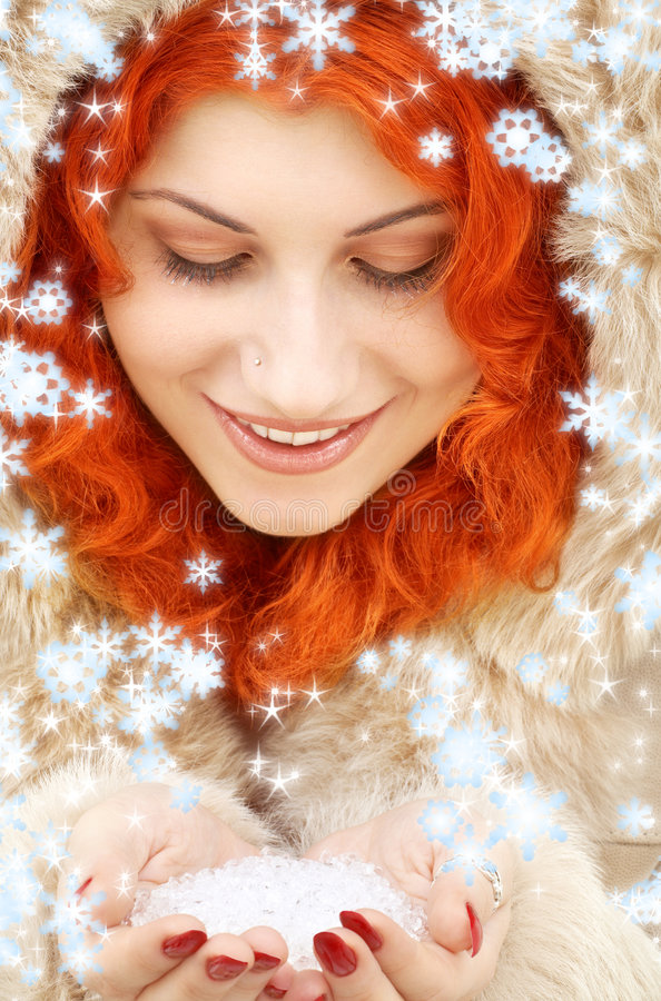 Free Handful Of Ice And Snowflakes Stock Photography - 3449672