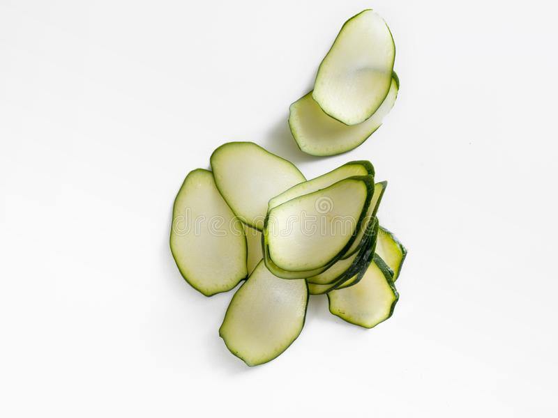 Handful of slices of a cucumber seen overhead royalty free stock images