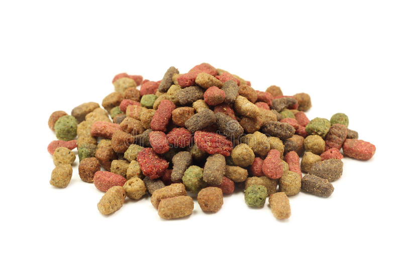 Handful of small granules pet food royalty free stock photo