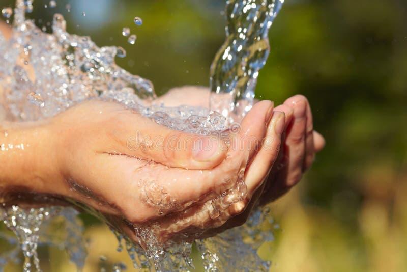 Handful of water stock photo
