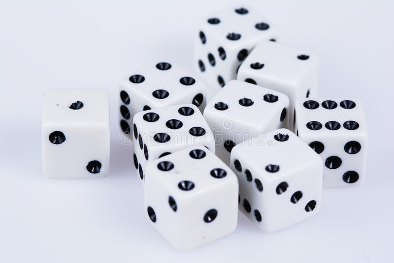 Handfull of dice on white royalty free stock photography