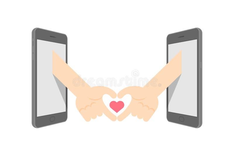 Handgebärdenspracheherz-Symbolform zwischen Konzeptidee mit zwei Smartphone gesetzter Liebes-Paaren vektor abbildung