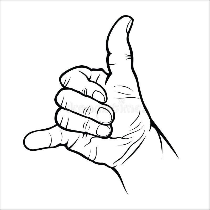 Handgebaren - roep me vector illustratie