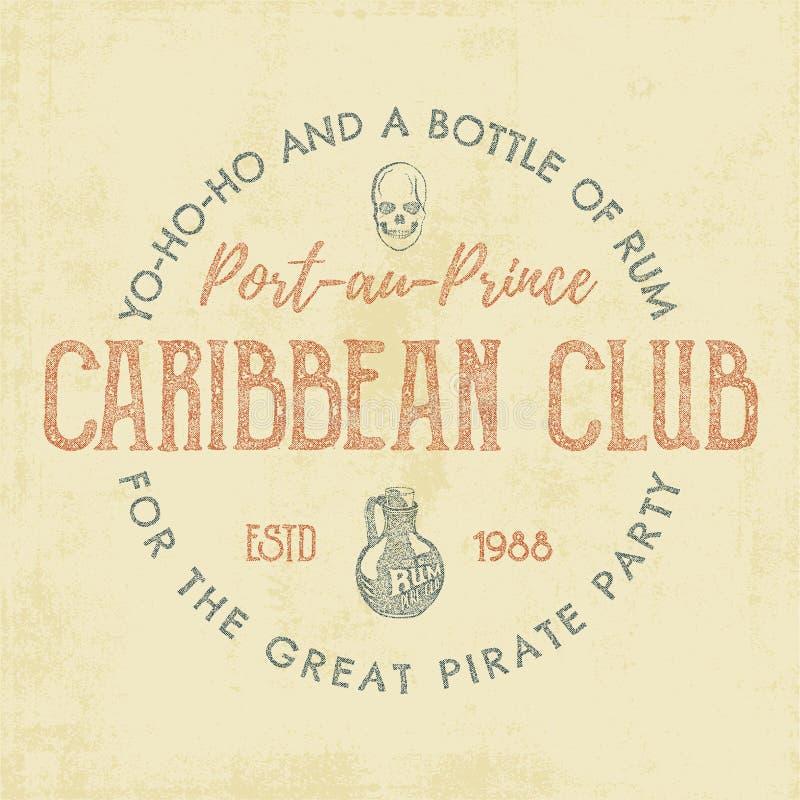 Handgefertigter Aufkleber der Weinlese, Emblem Karibische Vereinlogoschablone Skizzieren der gefüllten Art Piraten- und Seesymbol stock abbildung