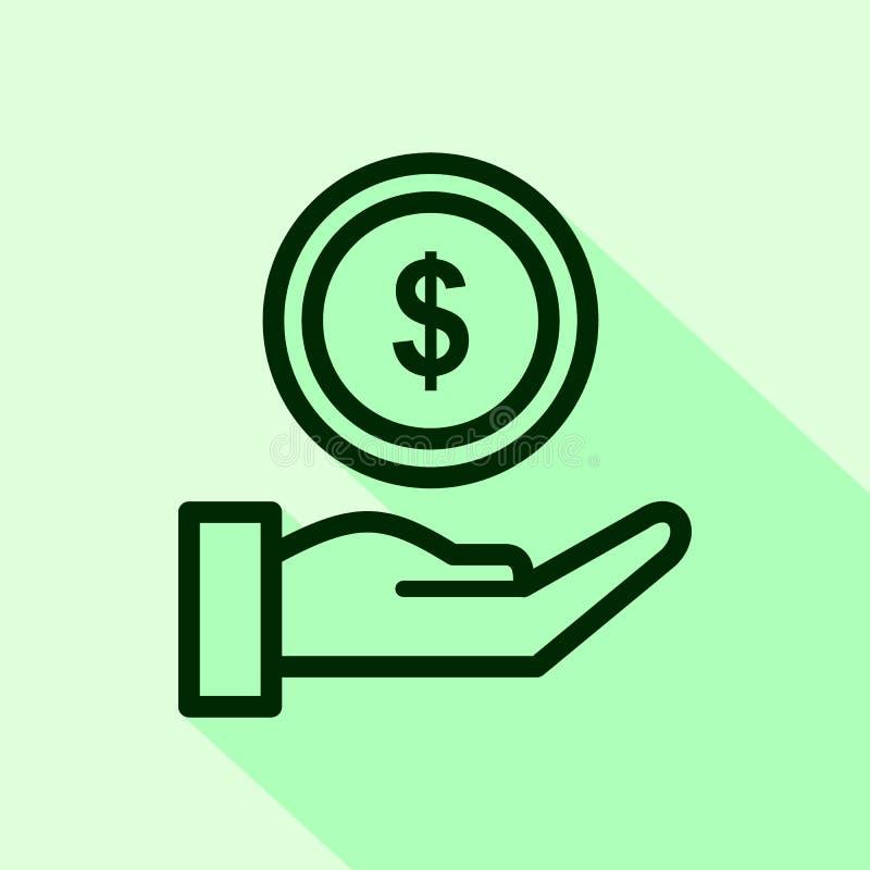 Handgeld geben Entwurfsikone lineares Artzeichen f?r bewegliches Konzept und Webdesign stock abbildung