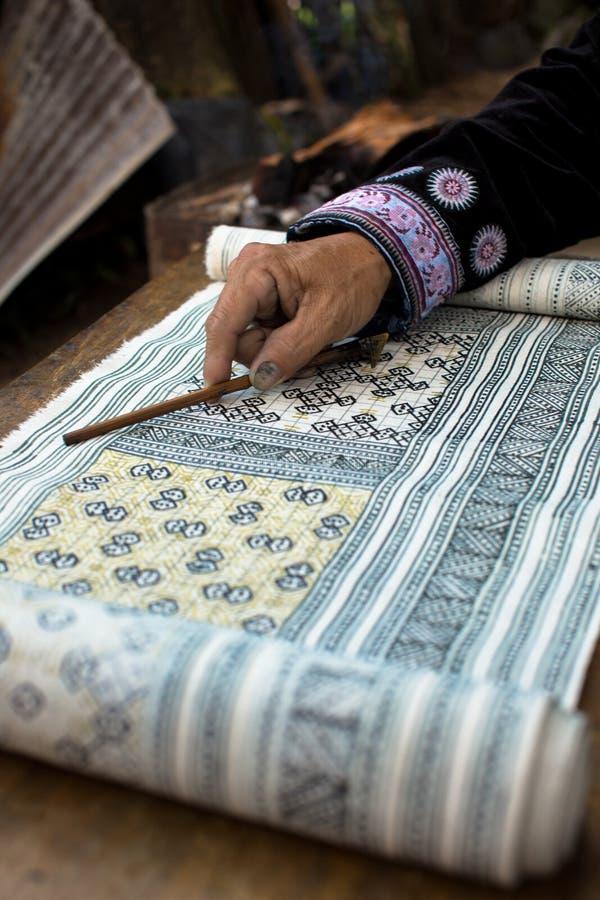 Handgemachte Batikdesigne - Thailand lizenzfreies stockbild